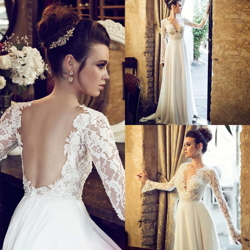 Custom vestido de noiva Lace Backless With Long Sleeves Cheap Boho Bohemian Bridal Gown Vintage Beach 2018   bridesmaid     dresses