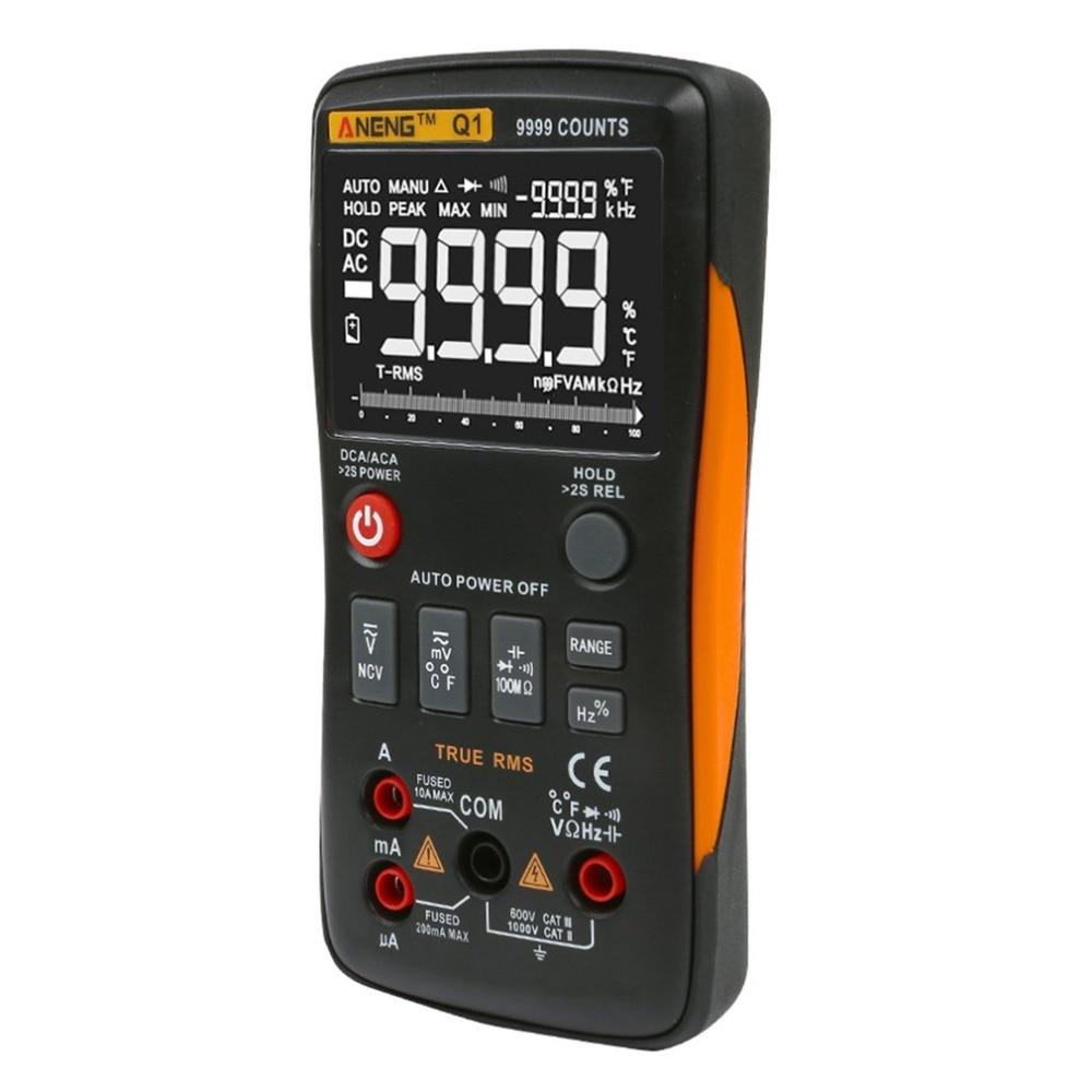 Multimètre Digitala ANENG Q1 9999 compte la vraie gamme automatique/manuelle de RMS testeur de température de fréquence de capacité AC/DC Volt Amp Ohm