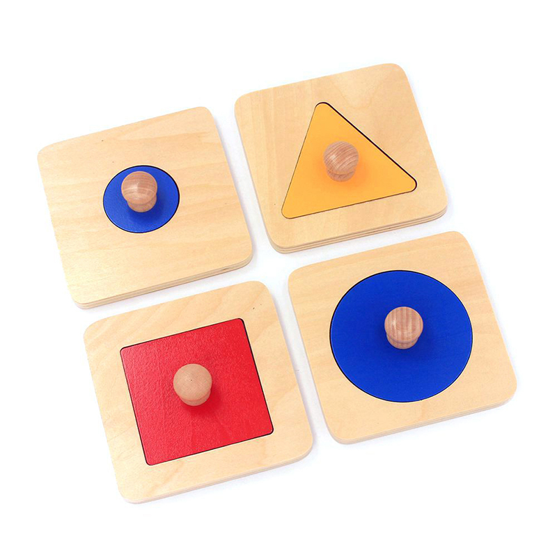 Montessori Infant Wooden 4Pcs Shape Matching Puzzles Learning Educational Preschool Training Sensorial Teaching Toys For Toddler