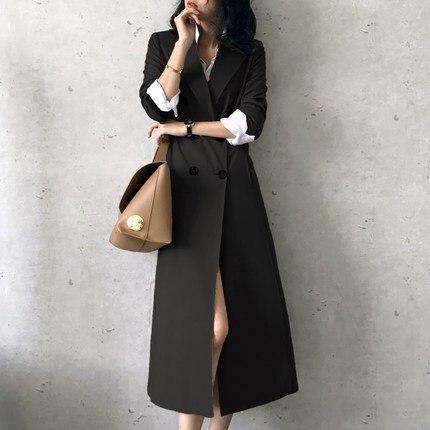 Lx101 Boutonnage coat Outwear Coupe Trench Nouveau Européenne black Printemps Femelle Vintage Femme vent Femmes Pardessus Manteau Double Marque Coffee 2019 zfwqgqT