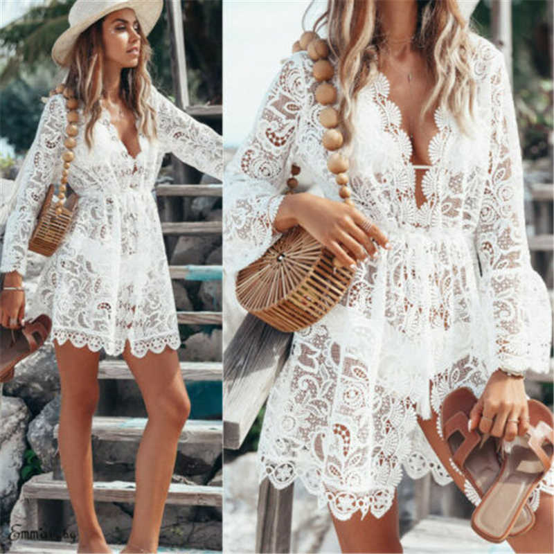 dd095acb5a Women Floral Lace Beach Cover up Elegant long Sleeve Mesh Transparent  Beachwear Playa Dress Ladies tunic