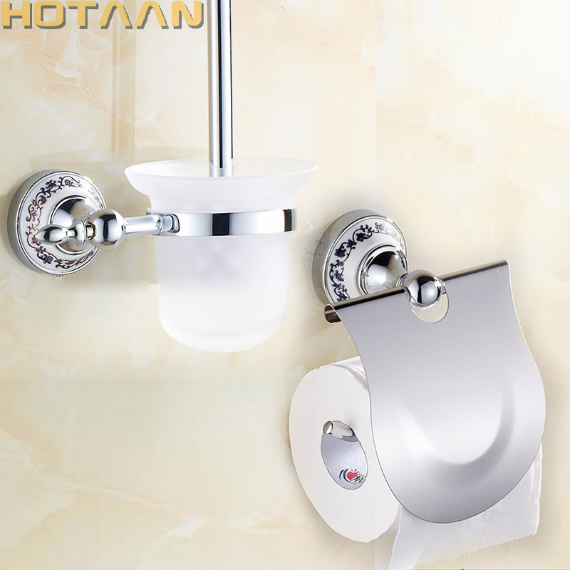 Free shipping,Chrome Plated Bathroom Accessories Set,Paper Holder, Toilet brush holder with Ceramic Base bathroom sets,11800G-2 free shipping solid brass bathroom accessories set paper holder toilet brush holder bathroom sets antique brassyt 12200 2