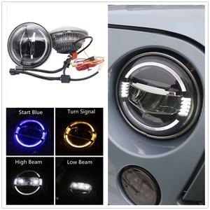 """Image 1 - Acessórios do carro led 7 Polegada farol para jeep wrangler jk 7 """"branco azul âmbar auréola faróis para hummer lada 4x4 urbano niva"""