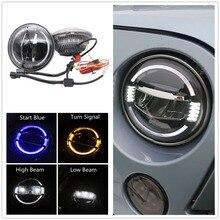 """รถอุปกรณ์เสริมLedไฟหน้า7นิ้วสำหรับJeep Wrangler JK 7 """"สีขาวAmber Haloไฟหน้าสำหรับHummer Lada 4X4 Urban Niva"""