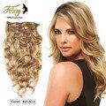Grampo em extensões do cabelo de alta qualidade Macio Natural blcak brasileiro grampo no cabelo humano onda do corpo do cabelo virgem Cru Barato extensões