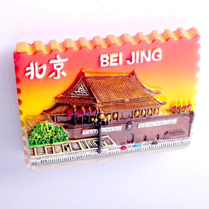 Villes Souvenir Réfrigérateur Aimant Résine main peinture Beijing Shanghai  Chine Cadeau articles avec feuille aimant 7ba80063e26