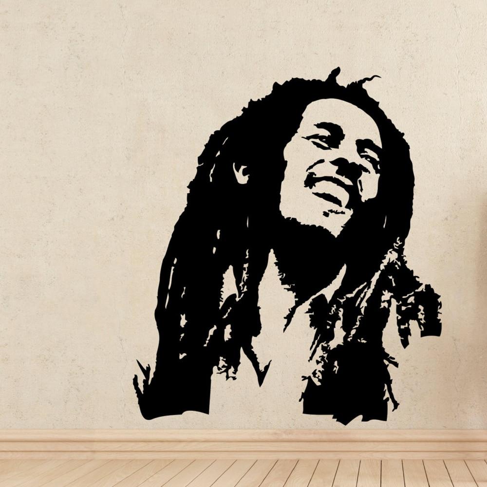 Decals dinding musik bob marley reggae rasta jamaica besar vinyl transfer stencil decal sticker wall art depan room dekorasi a322 di wall stickers dari