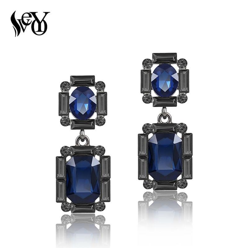 VEYO Vintage Crystal Drop Earrings Elegant Geometric Earrings For Women New Brand Charm Fashion Jewelry Wholesale