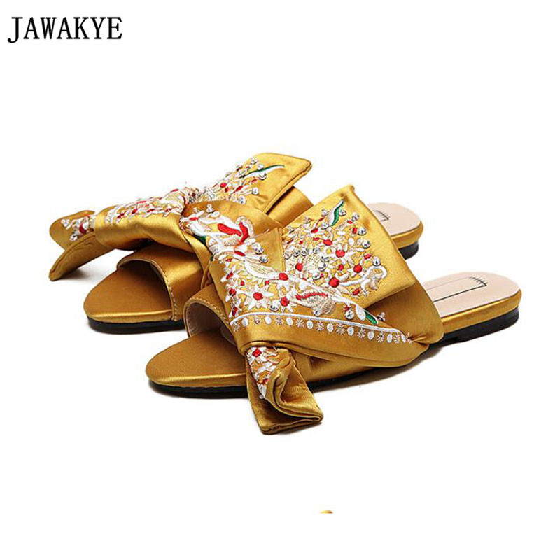 Best selling summer Women Slippers satin flat Heels crossover big butterfly embroidery decor slides flip flop