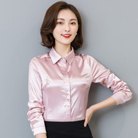 Women Silk Satin Blouse Button Long Sleeve White Gold Red Black Lapel Ladies Office Work Elegant