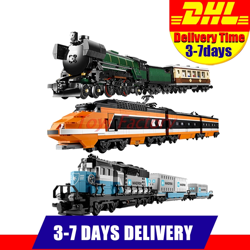 DHL LEPIN 21005 Emerald Night Train+21006 The Maersk Train+21007 The Horizon Express Train Model Building Blocks Clone 10210 stop the train reissue