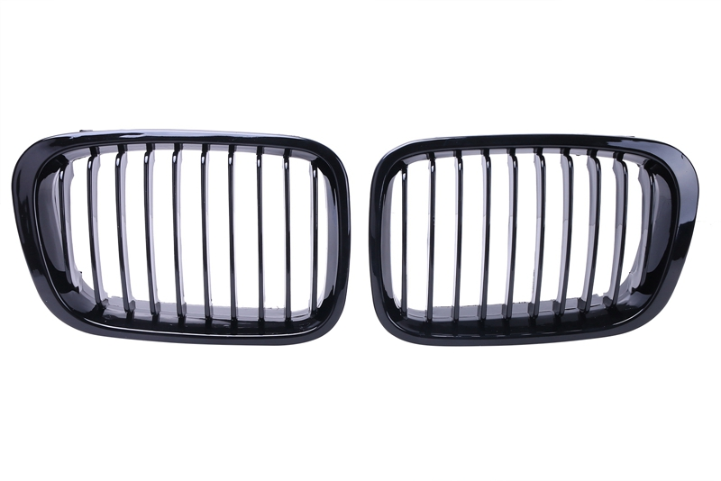 1Pair For BMW E46 Sedan 4Door Gloss Black Front Kidney Grille Grill 320i 325i 325xi 330i 330xi 323i 328i 318i 1998 2001 //