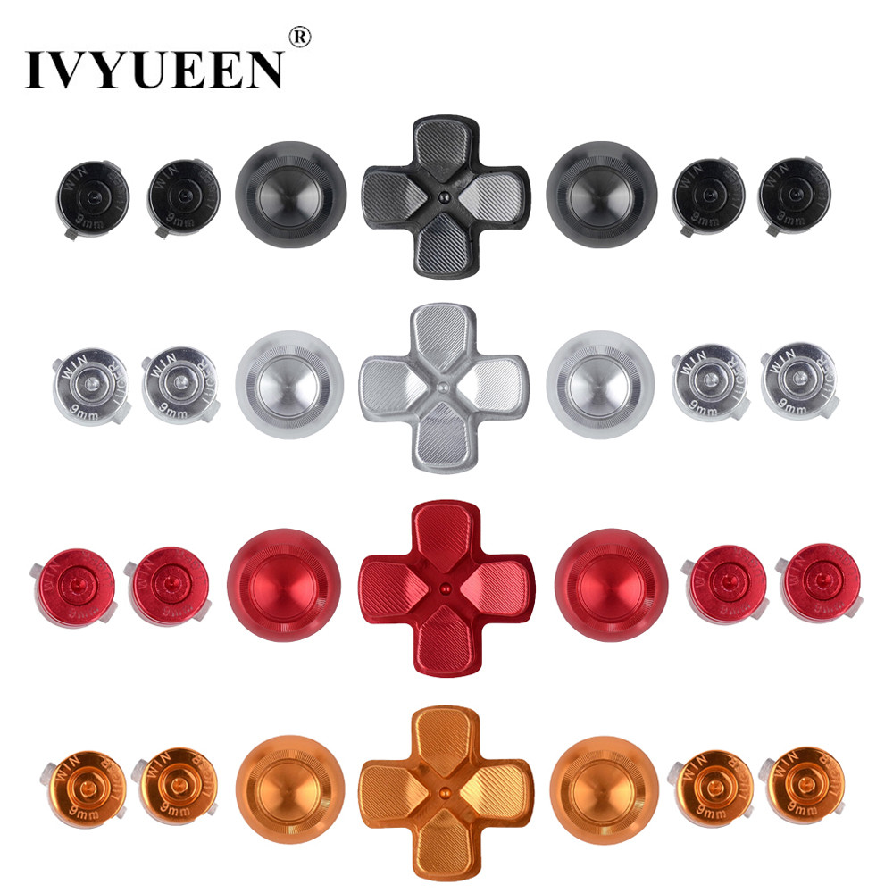 все цены на IVYUEEN 7 in 1 New Aluminium ThumbSticks Cap + Dpad + Metal Bullet Action Buttons Mod For Dualshock 4 PS4 Slim Pro Controller