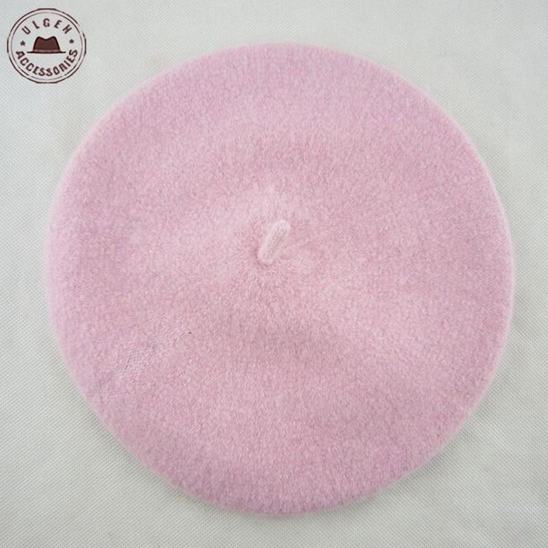 Fashion rainbow new children 100% wool beret kids baby girls beanies winter hat beret cap [HUBK023]