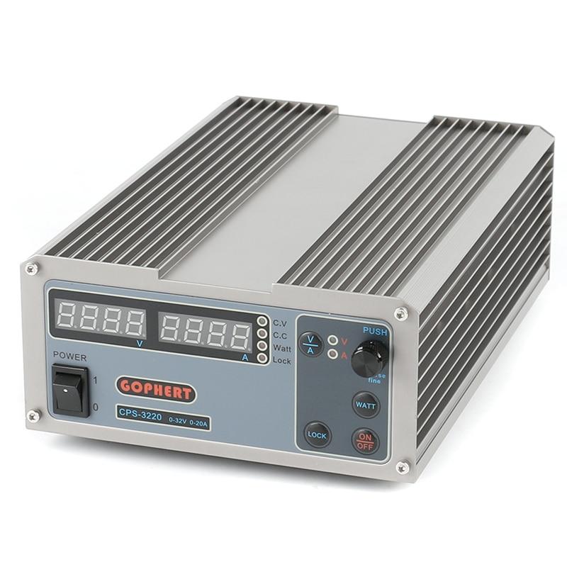 GOPHERT Digital Adjustable Laboratory switching DC Power Supply OVP/OCP/OTP MCU Active PFC 32V 20A 110V 220V + EU + Cable gophert cps 3205 ii digital dc power supply 32v 5a ovp ocp otp eu plug 0 01v 0 001a precision display