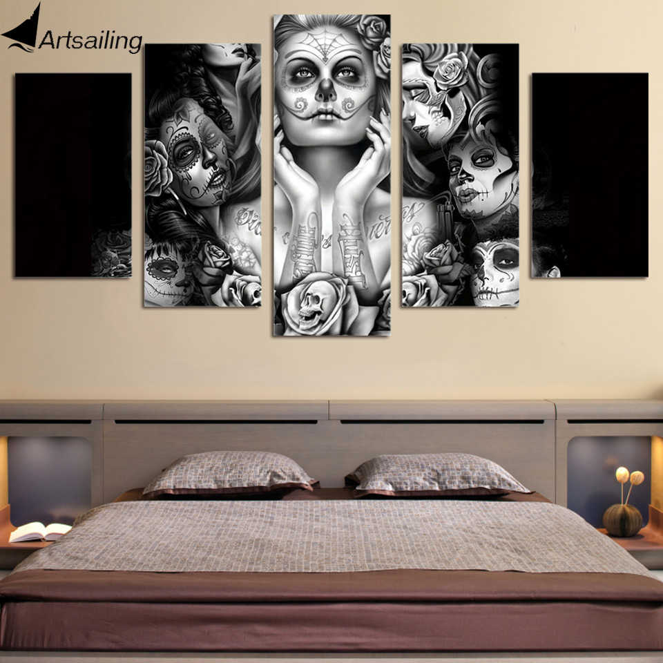 HD Printed Day of dead face 5 piece canvas art painting dropshipping 2018 sugar skull black white wall art dropshipping ny-437