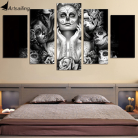 Framed Printed Day Of The Dead Face Painting On Canvas Room Decoration Print Poster Picture Canvas