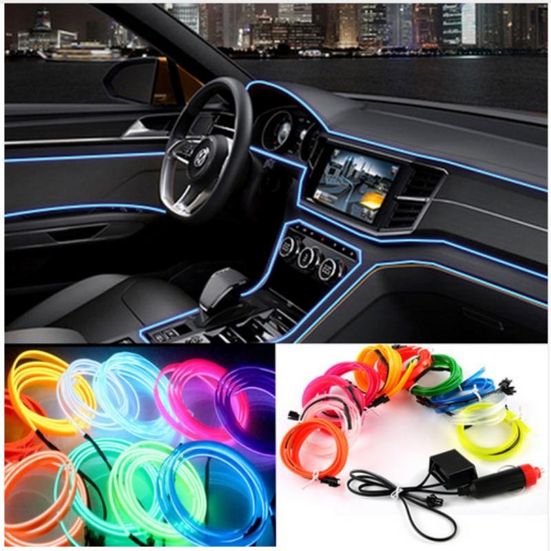 Car Interior Neon Strip Led El Cold Light Accessories For Ford Focus 3 2 1 Fiesta Mondeo MK4 Transit Fusion Kuga Ranger Mustang