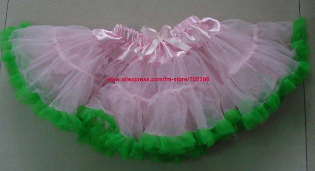 Venta al por mayor faldas Del Bebé niñas pettiskirts faldas de encaje rosa claro verde