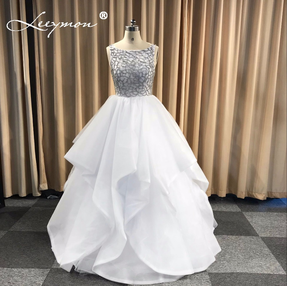 2018 New Champagne Beading Long Tiered Prom Dress Formal Gowns ...