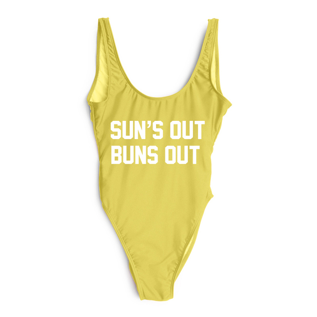 ce8b578b40a SUN'S OUT BUNS OUT Letter Swimsuit Sexy Swimwear Women One Piece Bathing  Suit Low Back High