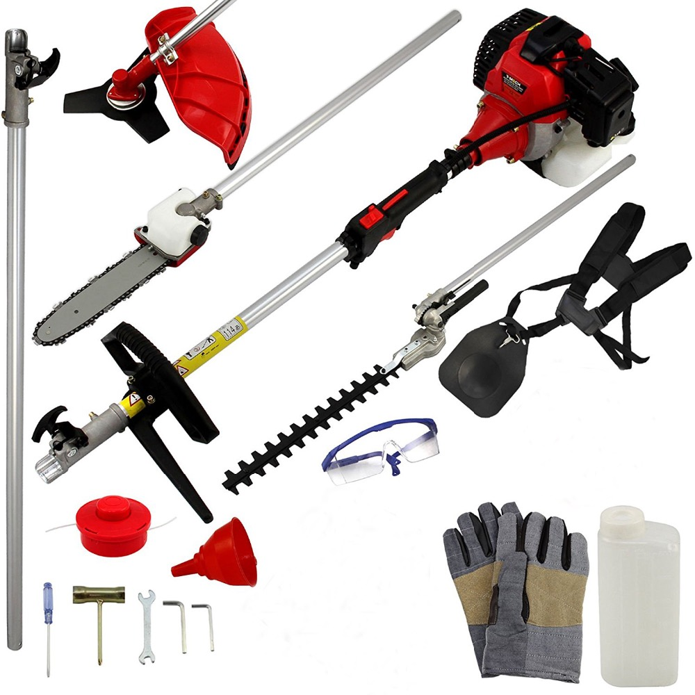 5 in 1 Gas Brush cutter 2 stroke 52cc Engine Petrol strimmer Tree Pruner Grass cutter with extend pole