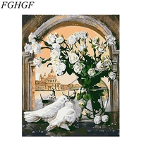 FGHGF Modern Flower Framless Picture DIY Acrylic Oil Painting By Numbers Wall Art DIY Canvas Oil