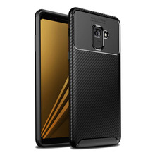 For Samsung Galaxy A8 2018 Case Carbon Fiber Silicone Phone Bag A6 Plus Business Cover