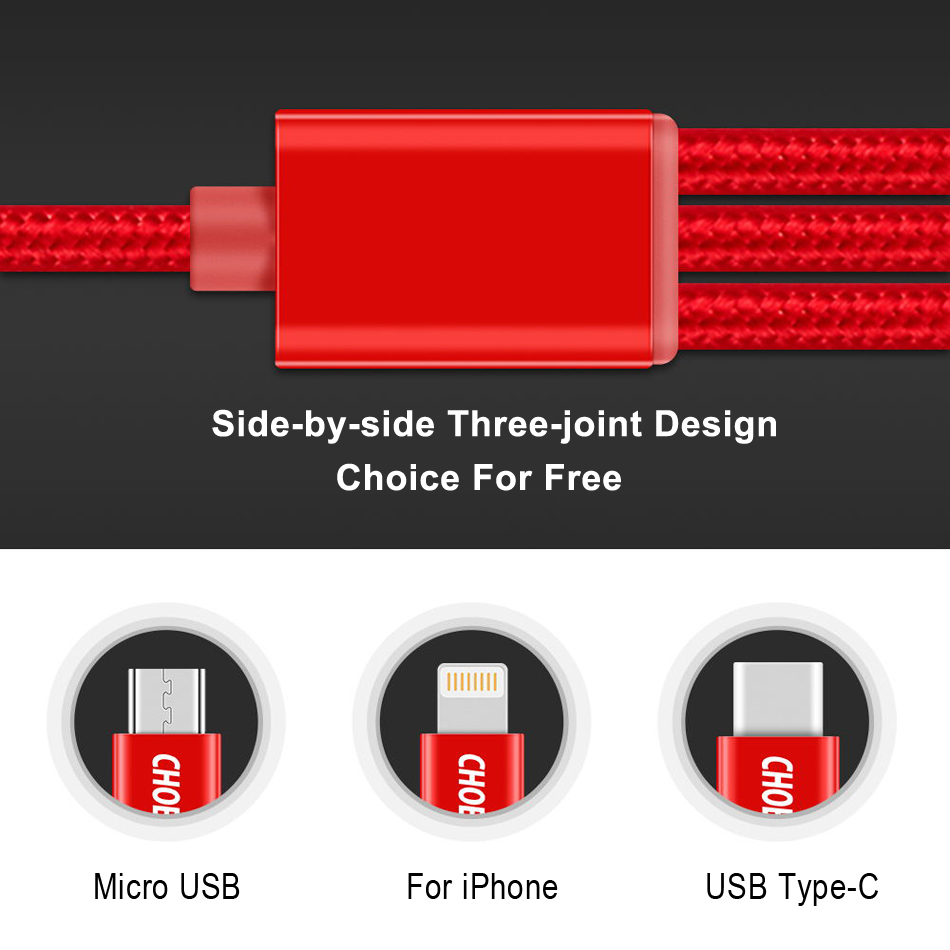 Image 2 - CHOETECH 3 in 1 Mobile Phone Cables For iPhone 8/8 Plus Nylon Braided Micro USB Cable Type C For Samsung S8 S9 Charging Cables-in Mobile Phone Cables from Cellphones & Telecommunications