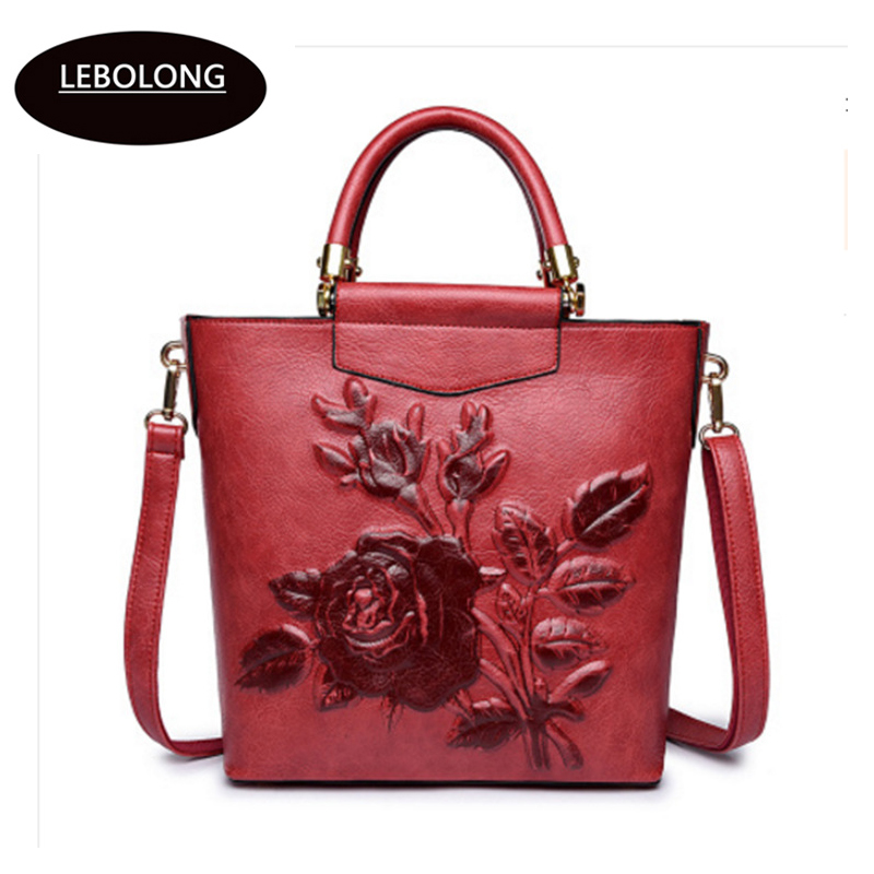 Women Leather Handbag Vintage Bucket Bags Embossing Printing Retro Designer  Floral Handbag 2018 Luxury Tote Bag High quality-in Shoulder Bags from  Luggage ... e7a66c3ac0f74