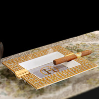 Luxury Gold Fine Bone China Ashtray Handmade Rectangular Porcelain Cigar Ash Tray Smoking Accessories Gifts For Boss Dad R755