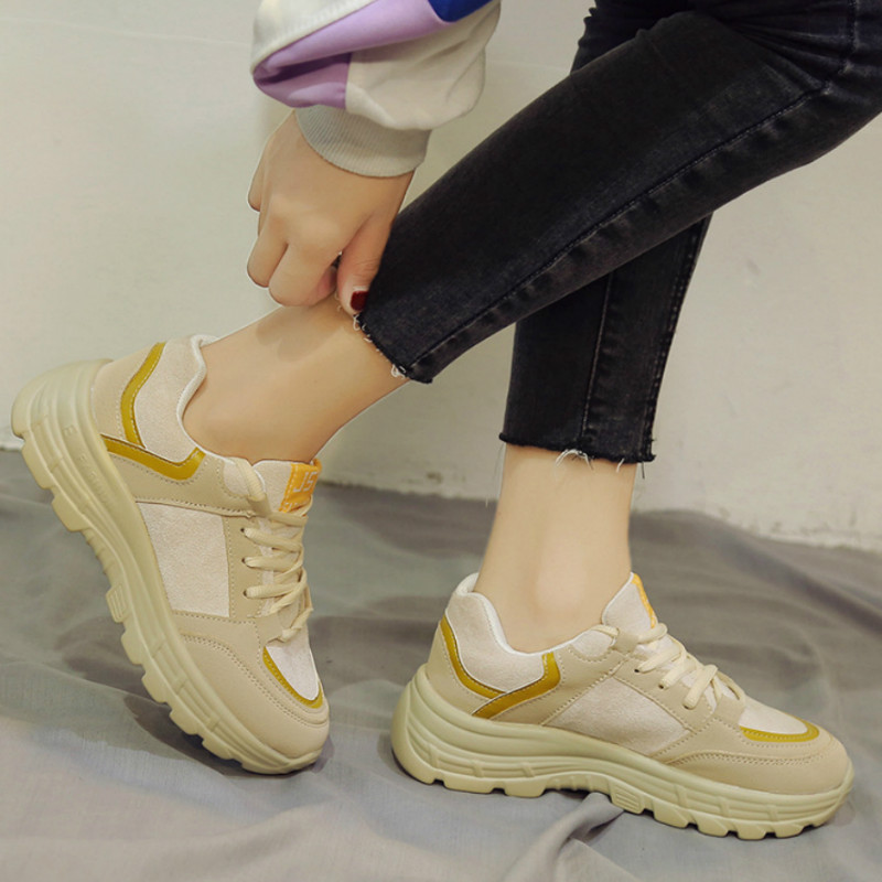 Autumn And Winter Women's Chunky Sneakers Fashion Women Platform Shoes Lace Up Vulcanize Shoes Womens Female Trainers X1-68(China)