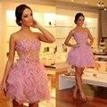 Linda Rosa Flores Curto do Regresso A Casa Vestidos de Cocktail Dresses Sweetheart A-Line Ruched Apliques Acima Do Joelho Vestido de Baile Para Meninas