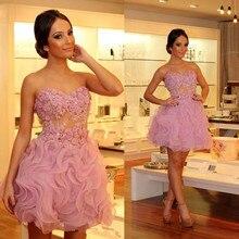 Schöne Rosa Cocktailkleider Liebsten A-linie Blumen Kurze Heimkehr Kleider Rüschenband Appliques Über Knie-abendkleid Für Mädchen