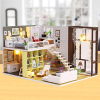 DIY Dollhouse Minature Doll House Casa Wooden House Model With Furnitures Building Kits Christmas Gift Toys For Children K028 #E