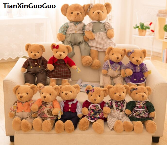 creative toy large 50cm lovers bear plush toy dressed cloth couples teddy bears soft doll Valentine's Day , proposal gift b2909 new creative plush bear toy cute lying bow teddy bear doll gift about 50cm