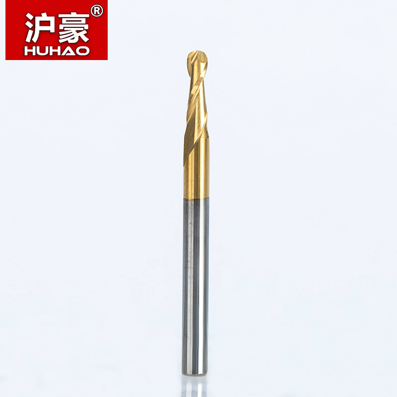 HUHAO 1pc Shank 3.175mm Ball Nose 2 Flute Spiral TiN Coating End Mills CNC Router Bits For Wood Tungsten Carbide Milling Tool
