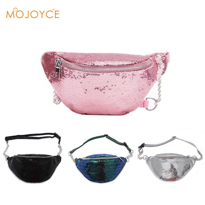 8a6d00b00b4e MOJOYCE Women Sequin Fanny Pack Fashion Female Waist Bag 2018 New Chest  Pouch Shoulder Bag Glitter Bum Belts Bags Waist Packs