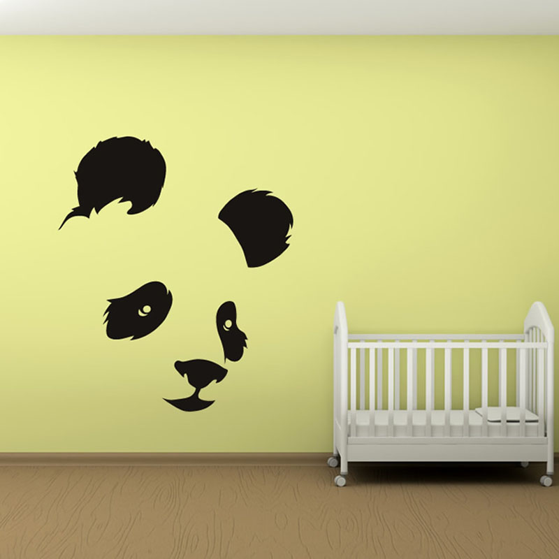 Panda Head Wall Sticker Baby Room Decorative Wall Decal Bedroom ...