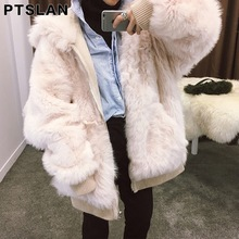 Ptslan Genuine Shearling Fur Coats Cool chic Lady Fashion Over Size Warm Winter Real Fur Women