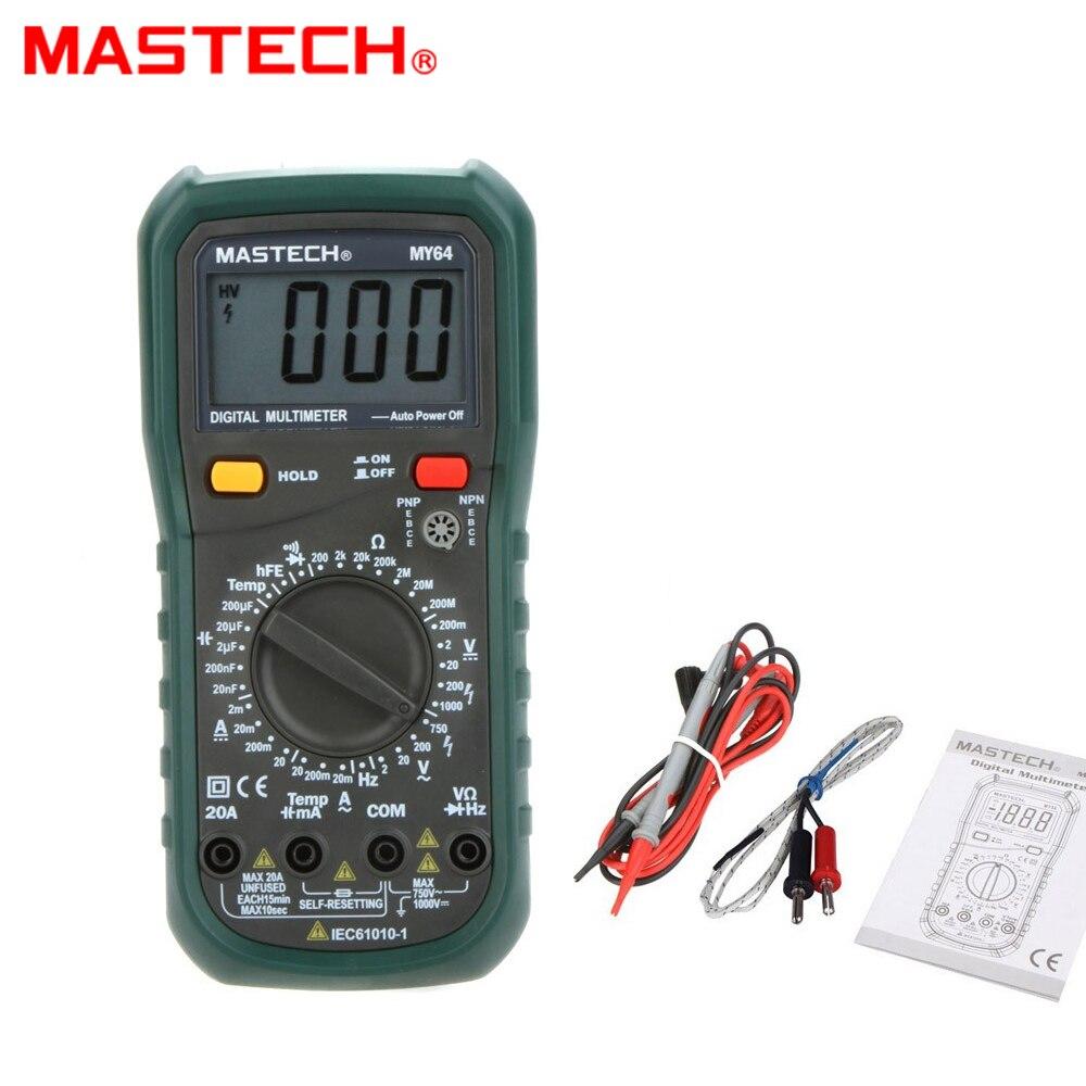 20A MY64 MASTECH Multímetro Digital AC/DC Capacitância Freqüência Temperatura DMM Medidor Tester w/hFE Teste Amperímetro Multimetro