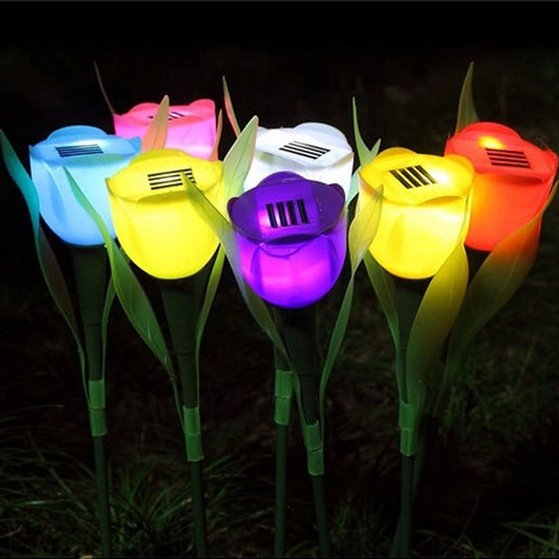 Outdoor Solar Powered Flower LED Light Garden Christmas Party Way Park Lamp Home Lampe Solaire Exterieur
