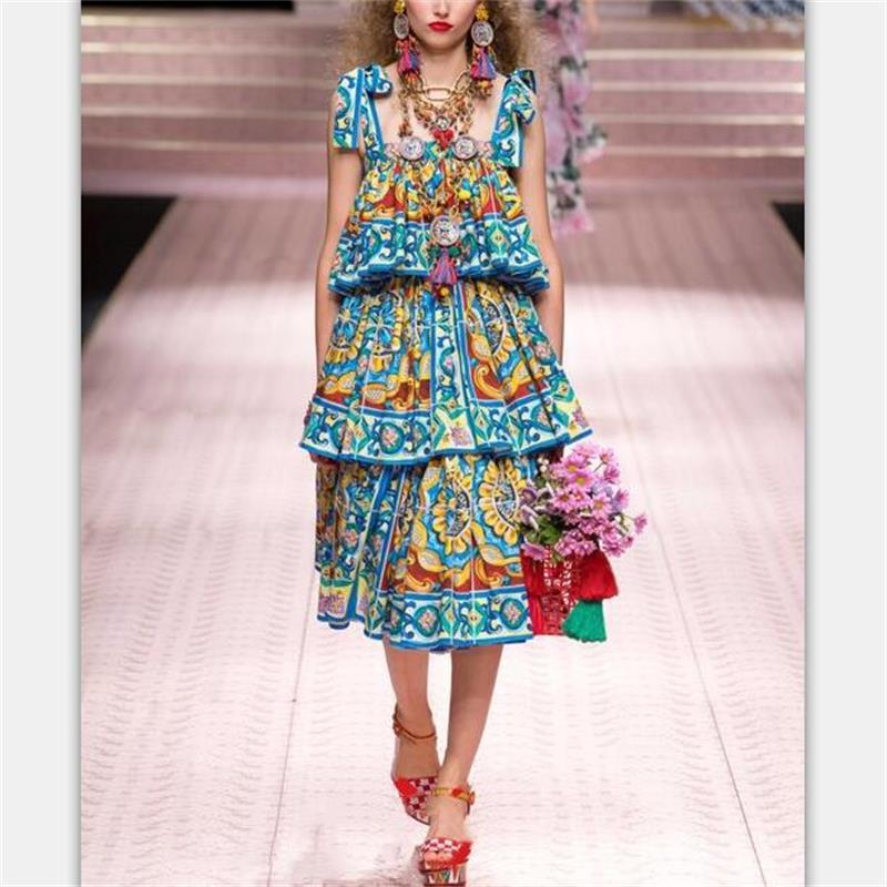Women Dress 2019 High Quality Spring Summer Designer Runway Printed Fashion Loose Spaghetti Strap Cake Dresses
