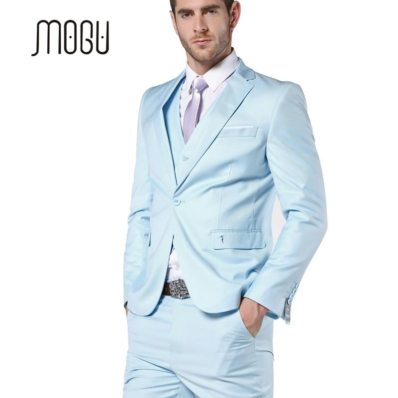 MOGU 2017 nueva llegada trajes para hombre trajes de boda azul claro para  hombres trajes ajustados para hombres 3 unidades (chaqueta + Pantalones +  chaleco) ... e7cfa00227c5