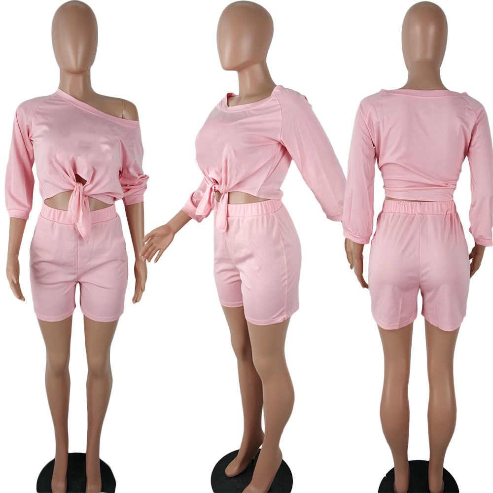 2019 נשים חדשות קיץ שלושה רובע אורך שרוול לקשור hem כבוי כתף למעלה מכנסיים חליפת שתי חתיכה סט אימונית תלבושת Q5102