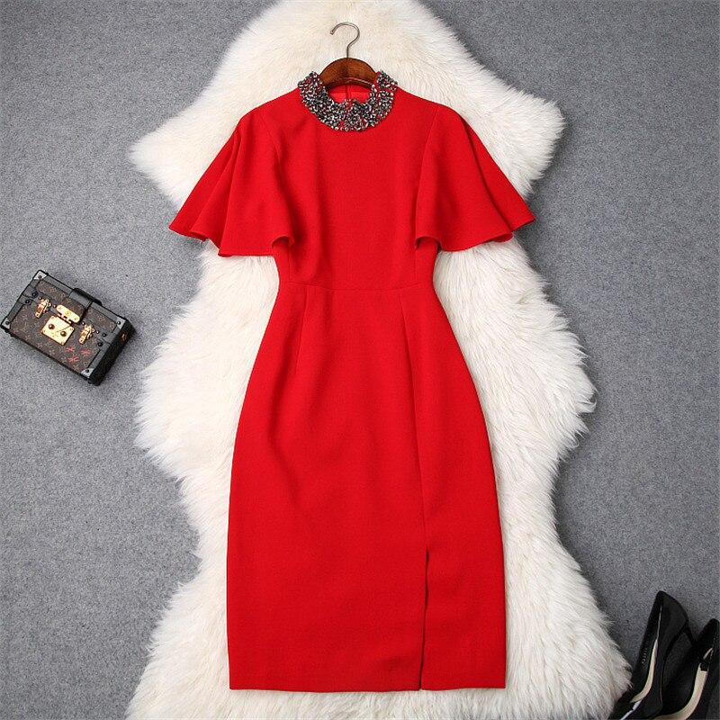 Elegant 2019 Spring Dresses for Women Brand Designer Luxury Diamonds Collar Cape Sleeves Solid Christmas Party