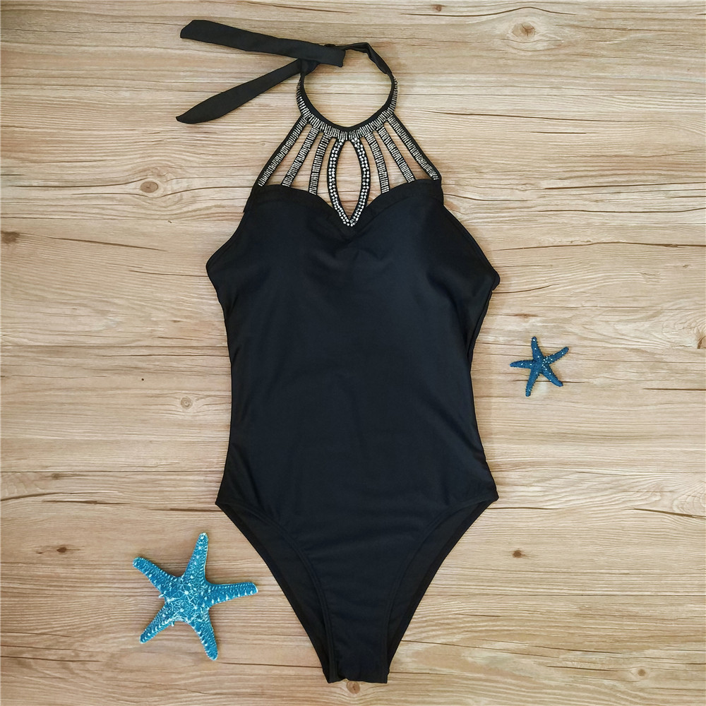 Monokini Women One Piece Swimwear Black 4