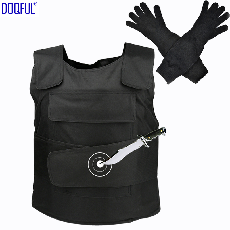 Tactical Stabproof Vest Anti Cut Work Long Gloves Outdoor Safety Knife Resistant Clothes Self Defense Tungsten Steel Iiner Plate