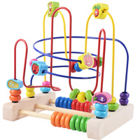 Baby Puzzle Learning Early Education Wooden Multi Function Box Round Bead Maze Roller Coaster Toys Set