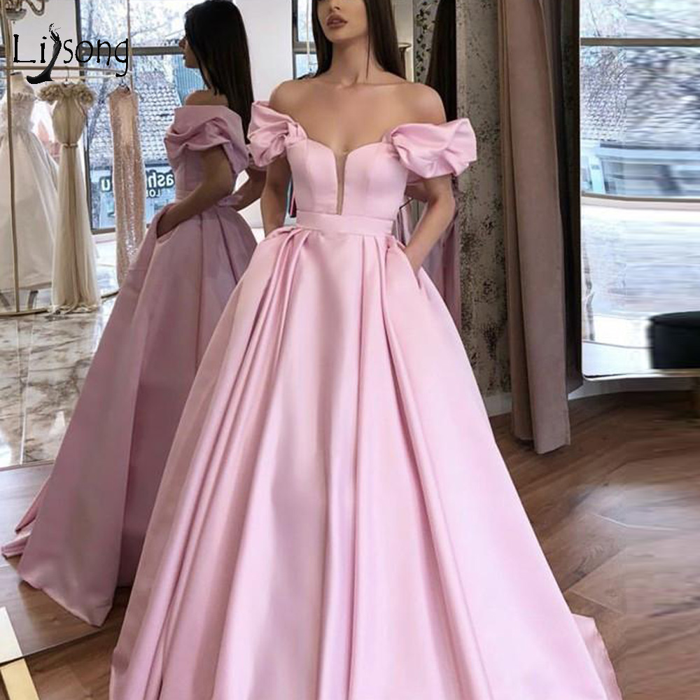Trendy Pink Satin A-line   Prom     Dresses   With Pocket Off The Shoulder Long Evening Gowns Ruffles Simple Formal Party   Dress